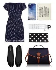 Синее в белый горох платье