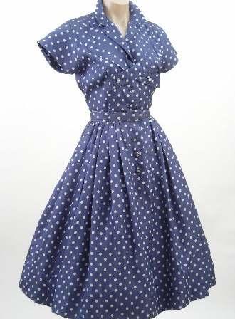 Платье голубое в белый горох